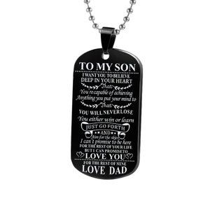 To My Son Love Dad Black Dog Tag Necklace